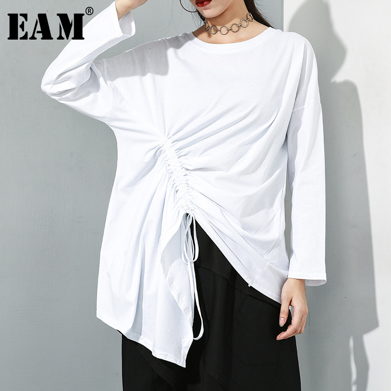 [EAM] Women White Asymmetrical Drawstring Big Size T-shirt New Round Neck Long Sleeve  Fashion Tide  Spring Autumn 2020 19A-a241