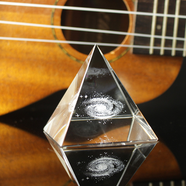 Crystal Pyramid 3D Laser Engraved Galaxy Glass Pyramid Fengshui Figurine Home Decoration Accessories for living room 1