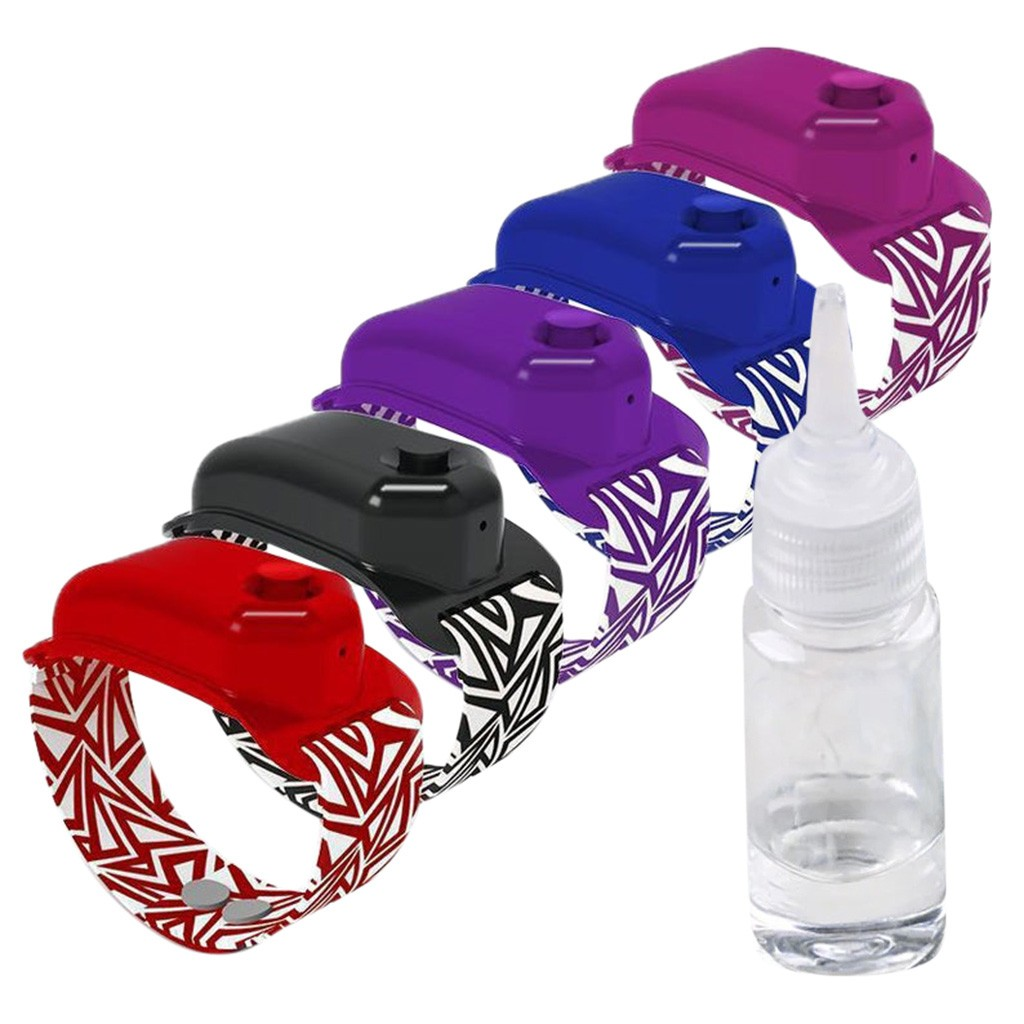 Newest 5PC Hand Sanitizer Dispensing Portable Bracelet Silicone Wear Sanitizer Wristband Hand Dispenser 10ML with 5 Bottle Red