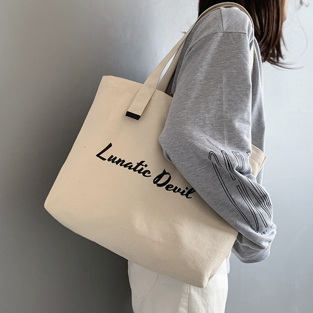 Women's Canvas Shopping Bag Female Handbag Cloth Tote Bag for Women 2019 Cotton Ladies Shoulder Bag Big Shopper Bag Beach Travel