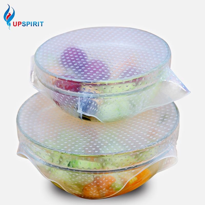 Novo 4 pçs multifuncional alimentos frescos mantendo saran envoltório ferramentas de cozinha reutilizável silicone envoltórios de alimentos vedação capa a vácuo estiramento