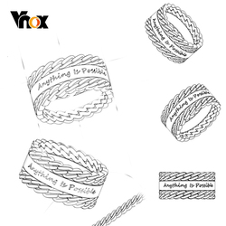 Vnox Design Unique Double Chain Ring for Men Women Customize Stainless Steel Band Personalized Name BFF Birthday Gift