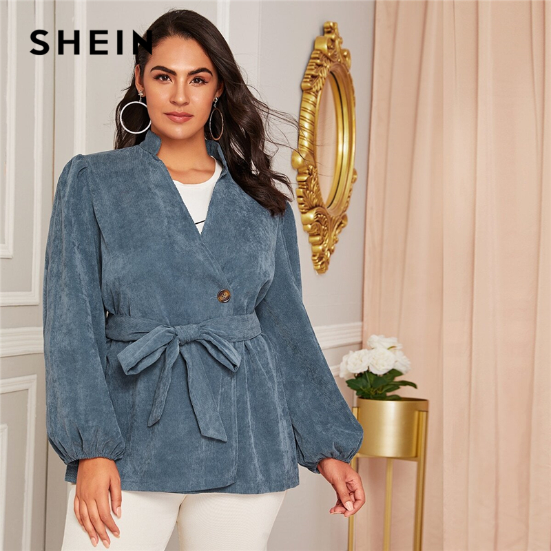 SHEIN Plus Size Blue Corduroy Lantern Sleeve Belted Coat Women Autumn Stand Collar Casual Plus Solid Outwear Coats