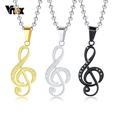 "Vnox Note Necklace for Women with Shiny Stone Stainless Steel Love Music Collar Accessories Free Ball Chain 24""(China)"