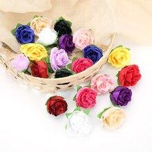 50 pces natal 3cm rosa flor cabeça flores artificiais para festa de casamento natal decoração para casa artesanato falso decoração da flor