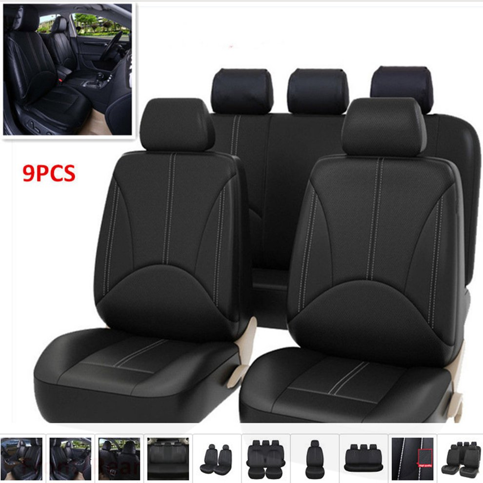 9pcs/Set Fashion PU Leather Car Seat Covers Dustproof Seat Protectors Universal Full Seat Covers For Auto Cars Hot