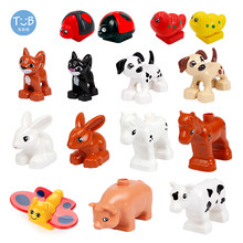 Micro Big Building Blocks Animal Accessories Cat Dog Pig Cow Horse Compatible With Brick Toys For Children Kids Gifts