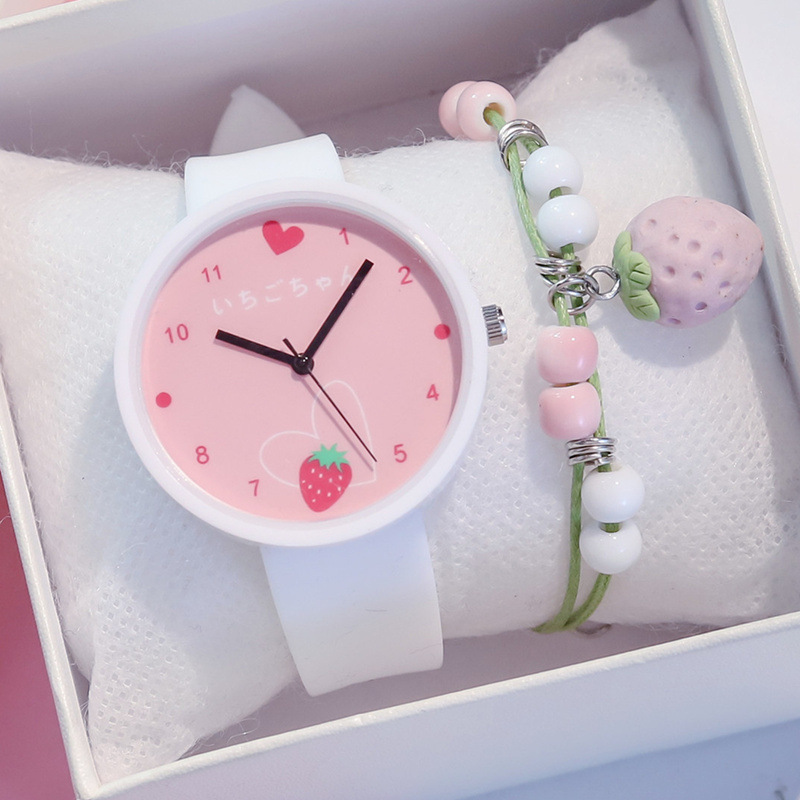 Creative Girl's Watches Lovely Strawberry Dial Design Cartoon Watch For Kids Silicone Strap Wristwatch