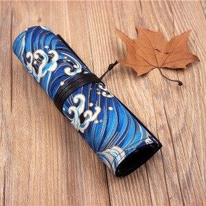 Image 4 - Oriental janpan estilo chinês lápis envoltório bolsa de algodão rolo up caneta organizador caso bolsa de viagem para artistas estudante