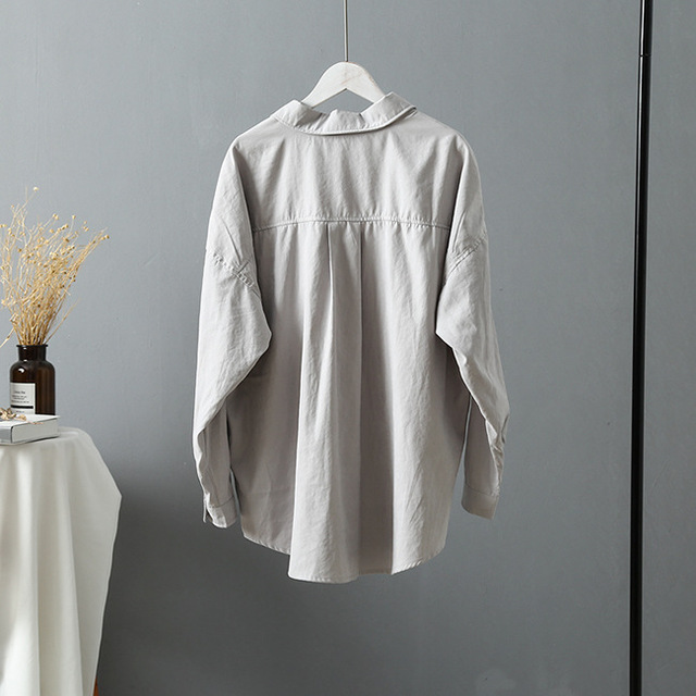 2020 Korean Women Blouse Casual Long Sleeve Womens Tops And Blouses Vintage Women Shirts Blusas Roupa Feminina Button Solid Tops 4