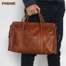 PNDME vintage handmade genuine leather travel bag simple cow