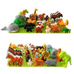 Legoing Duploed животных серии Модель Цифры динозавры Лев большой строительные блоки животные Развивающие игрушки для детей Детский подарок