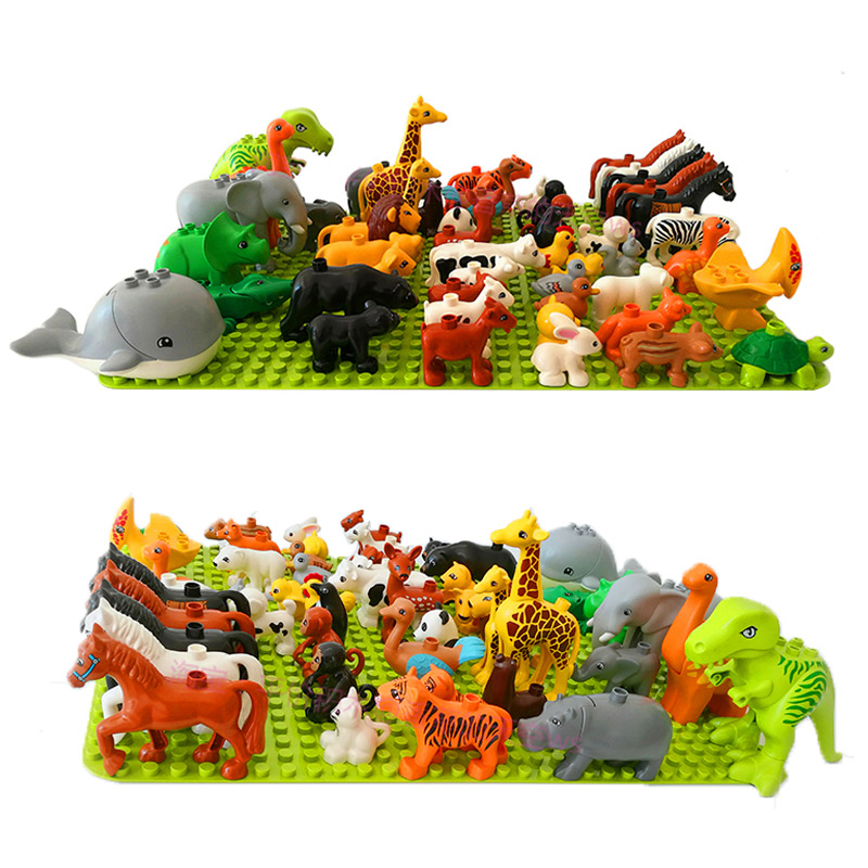 Legoingly Duploed Animal Series Dinosaur Zoo Model Figures Big Size Building Blocks Bricks Educational Toys For Kids Children