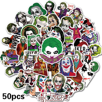 50PCS The Joker Anime Stickers Cartoon Clown Style for Case Laptop Motorcycle Skateboard Luggage Decal Children Toy Sticker 50pcs newly movie it chapter two joker anime sticker cartoon for skateboard guitar laptop luggage furnitur decal toy stickers