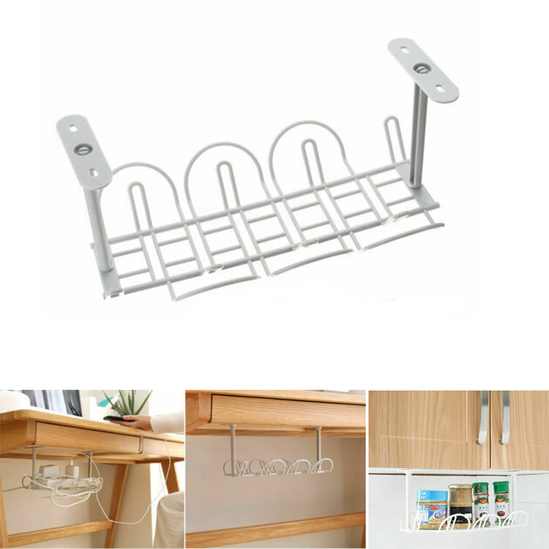1 Piece Under Desk Cable Organizer Tray Cables Management Wire Cord Power Strip Adapter Organizer