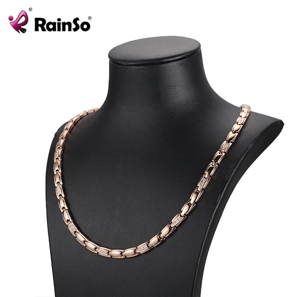 RainSo 2020 Female Zircon Necklace Chain Classic Popular Stainless Steel Necklaces Health magnetic Bio Power Necklaces for Women