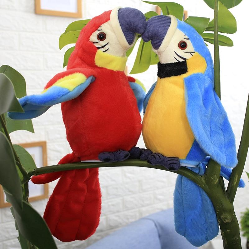 Electric Talking Parrot Plush Toy Cute Talking Record Repeats Waving Wings Plush Bird Toy Kids Birthday Gift