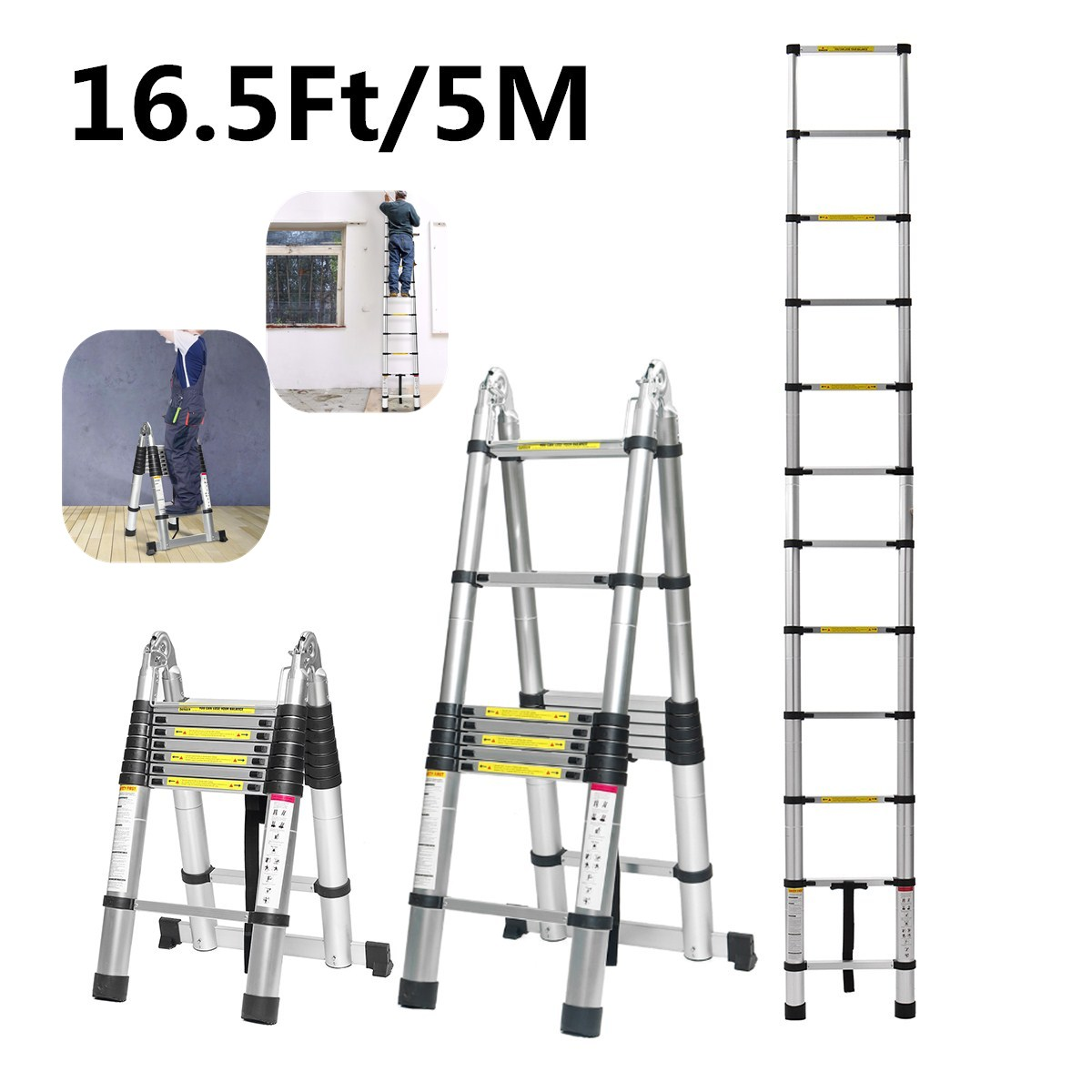 Dual-Use 5m 16.5Ft Ladder…