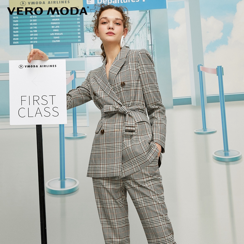 Vero Moda Women's Vintage Style Lapel Double-breasted Plaid Suit Jacket | 319408515