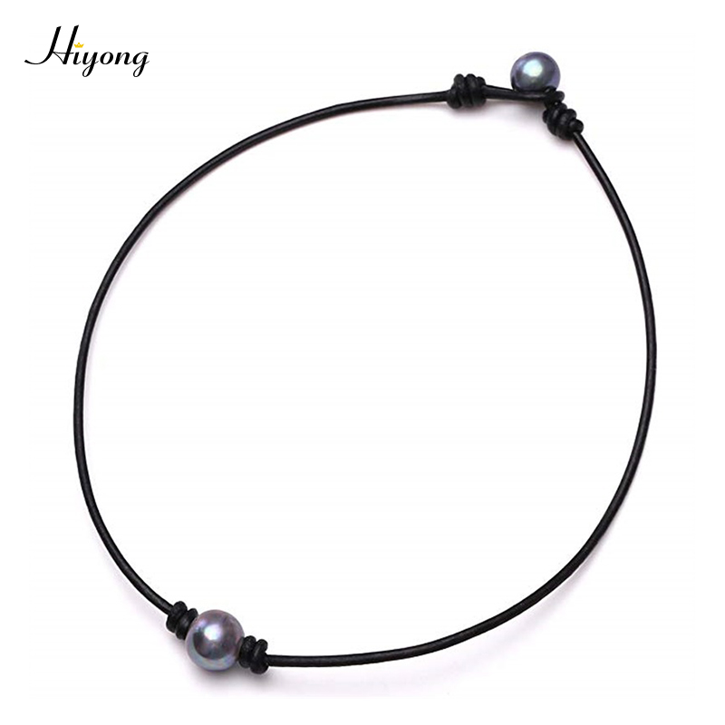 HIYONG Single One Black Cultured Pearl Choker Necklace on Genuine Leather Cord Handmade Jewelry for Women Girls Gift