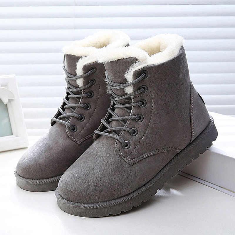 Kar botları kadın çizmeler Lace Up sıcak kürk yarım çizmeler kadın ayakkabı kış klasik süet çizmeler bayan ayakkabıları