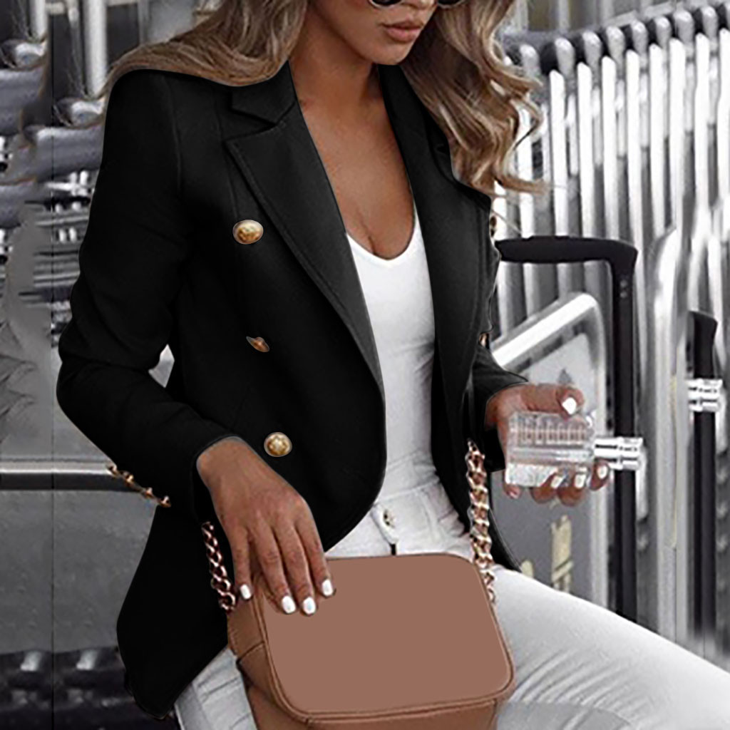 2019 New Designer Blazer Women's Double Breasted Lion Buttons Slim Fitting Gorgeous Solid Black Blazer Jacket Plus Size 5xl#3