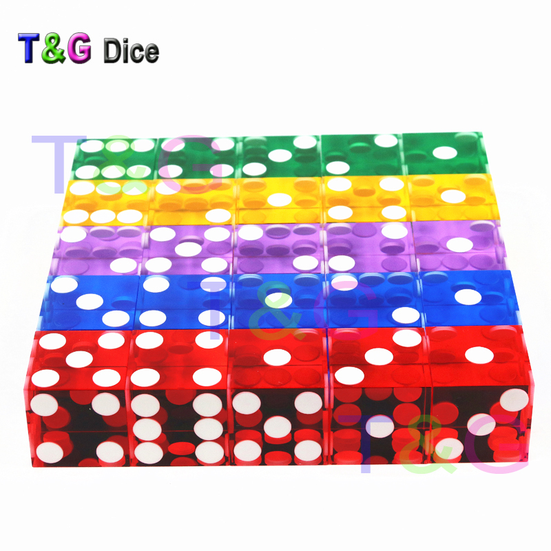 5piece D6 Dice T&G 19mm Acrylic Dice Transparent Six Sided Casino Sharp Straight Corner