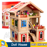 75*56*43cm Hi Rise Doll House Large Villa Three story Wooden Dollhouse and Furniture Set With Furnitures Model Building Toys