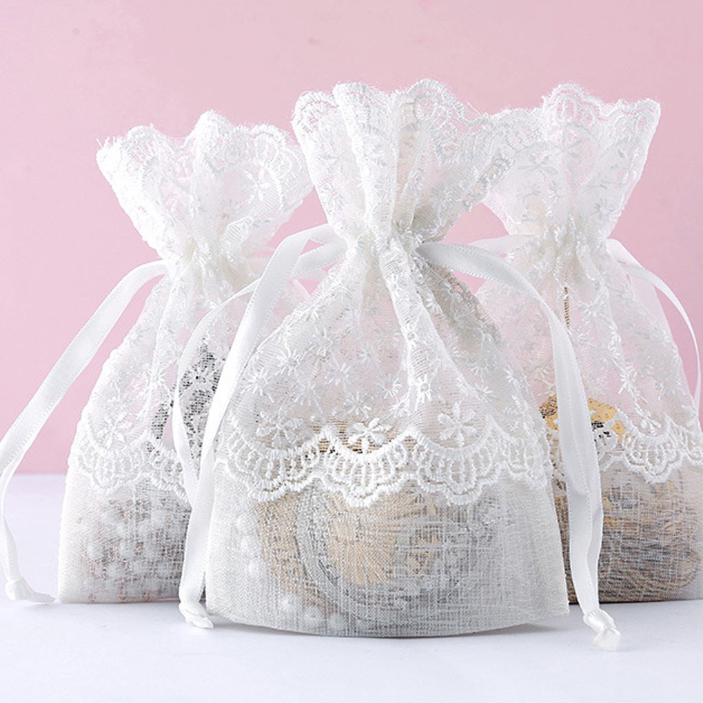 White Wedding Gift Bag Slub Yarn Jewelry Candy Packing Drawable Bags Party Birthday Favor Pouch