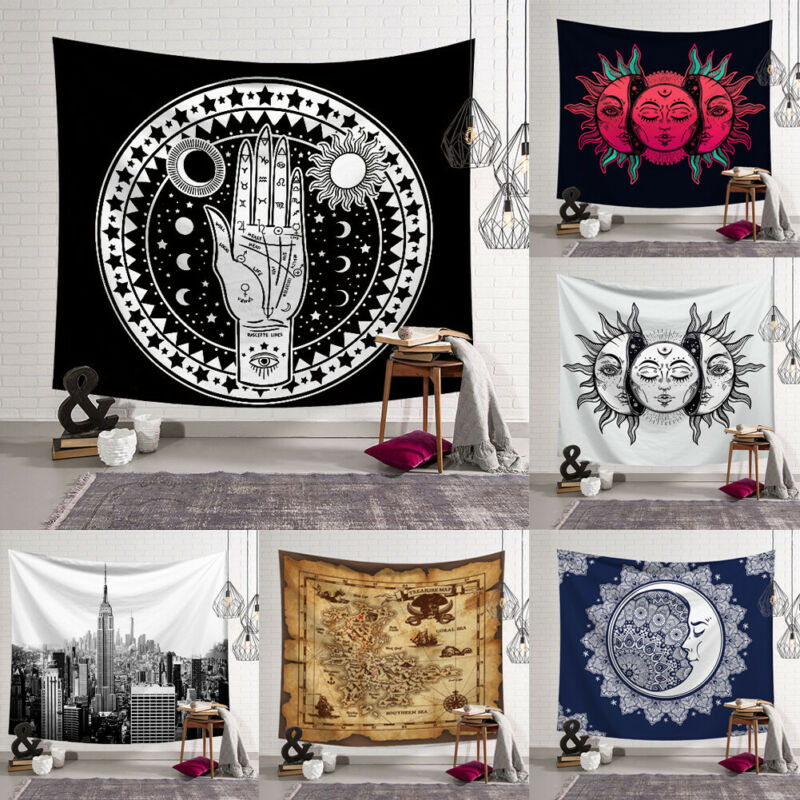 New Indian Mandala Psychedelic Moon Sun Wall Hanging Beach Towel Art Tapestry Dorm Home Decoration Small 95x73cm