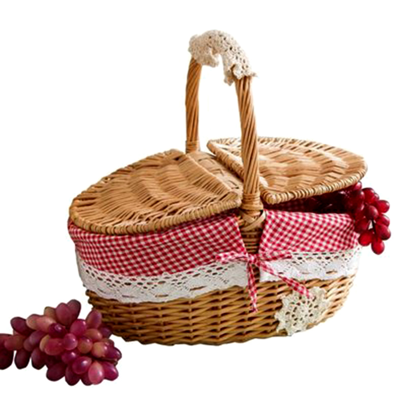 Practical Hand Made Wicker Basket Wicker Camping Picnic Basket Shopping Storage Hamper And Handle Wooden Color Wicker Picnic