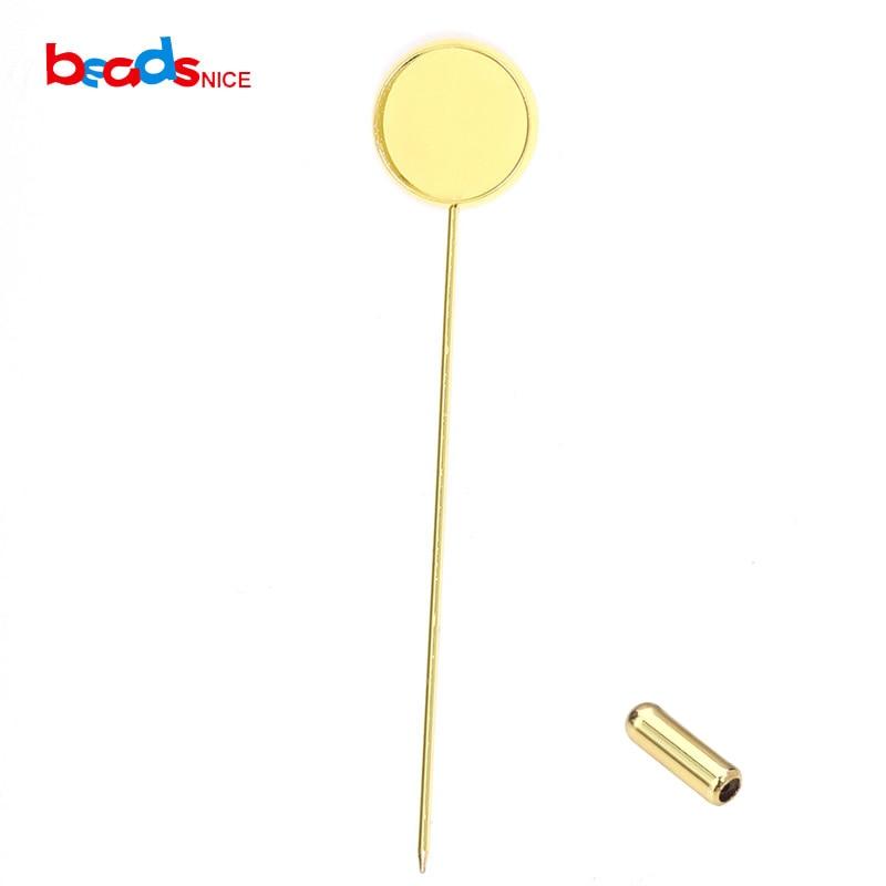 Beadsnice 30pcs/lot Brass Stick Pin Clutch Brooch Bezel 16mm Jewelry Findings Blank 23053