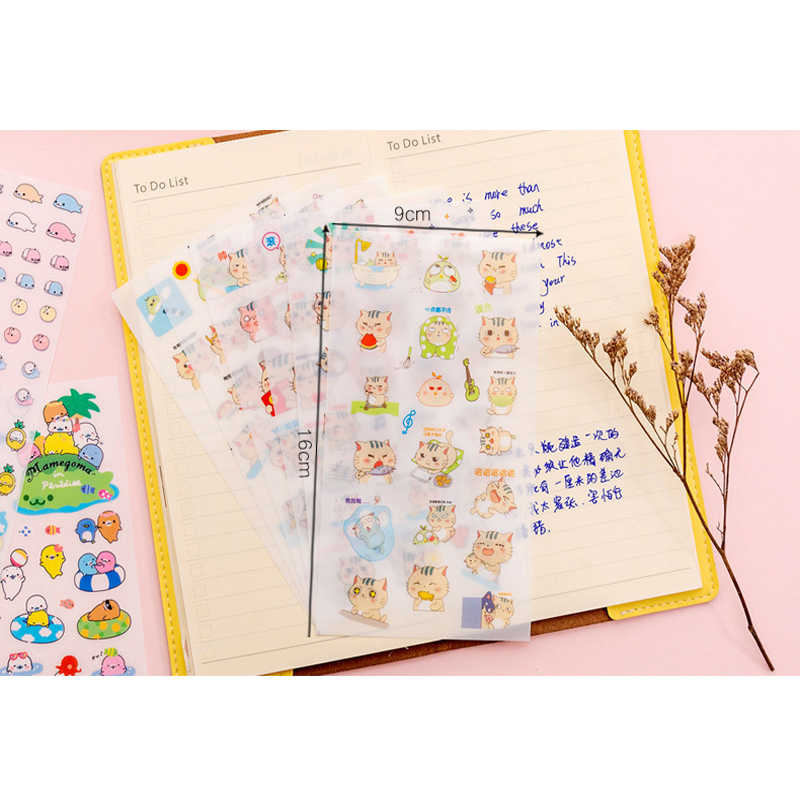 6 unids/pack Corea pegatinas creativas álbum de recortes diario papelería suministros escolares dibujos animados mascota Linda serie divertida tres selecciones
