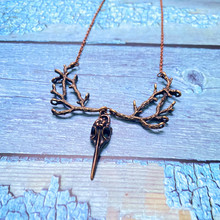 Necklace Witch Jewelry Pendant Crow Raven Skull Pagan Wiccan Bird Copper New-Fashion
