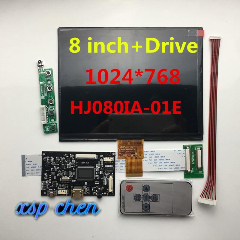 8 polegada tela lcd HJ080IA-01E HE080IA-01D 1024*768 ips hd display lcd + hdmi/vga/2av placa de controle motorista