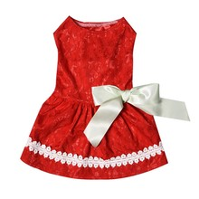 Pet dog sweet cute shirt red bow lace dress pet clothes wedding skirt puppy clothing fashion denim XS-L