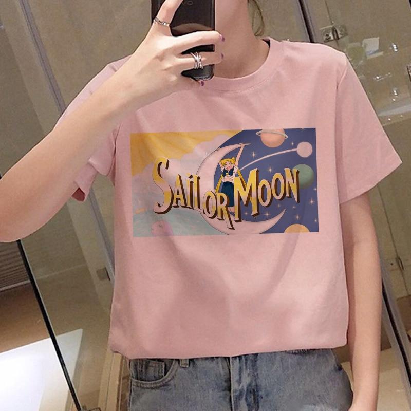 Harajuku T Shirt Women Kawaii Tshirts Sailor Moon Graphic Shirt Oversized Tshirt Streetwear Korean Style Tops Casual T-shirt