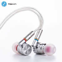Étain HIFI T4 10mm CNT carbone Nanotube pilote dynamique dans l'oreille écouteur moniteur IEM basse DJ métal casque MMCX câble TINHIFI T3 T2