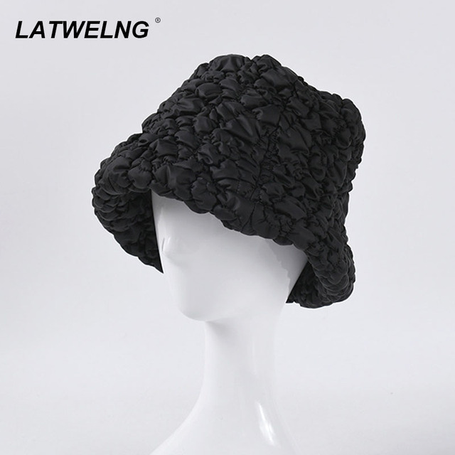 Best Discount 9b20 New Design Bubble Fisherman Hat For Women Fashion Japanese Style Bucket Hat Black Buckets Wholesale Cicig Co