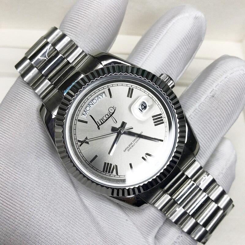 Reloj de pulsera de lujo con esfera plateada y números romanos U1, pulsera de mano de calidad AAA con cristal de zafiro de 40mm, deslizamiento automático y suave de segunda mano