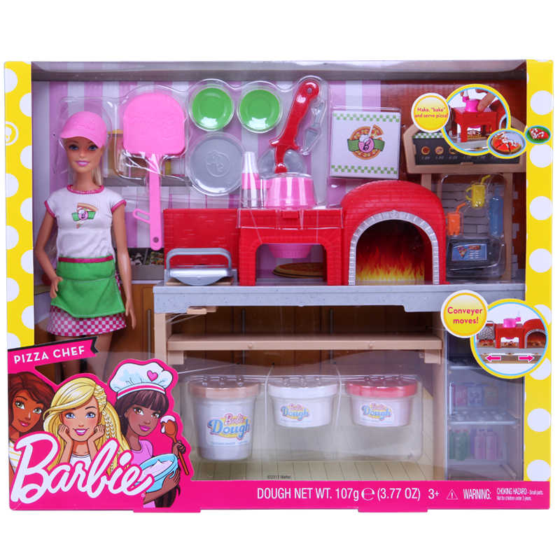 Genuine Barbie Doll Set Pizza College Children House Play Simulation Kitchen Cooking Girls Toys Plastic Abs 1 12 Fhr09 Dolls Aliexpress