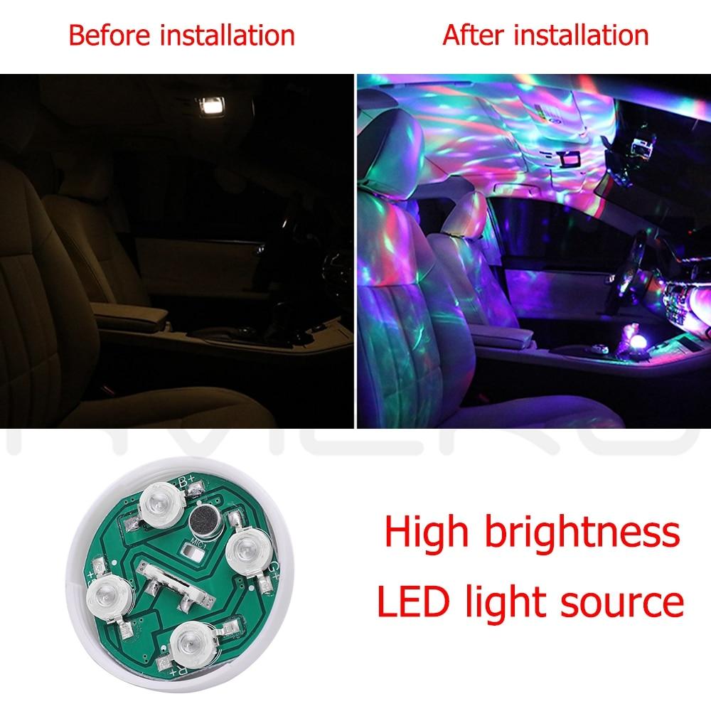 Car Auto Lamp USB Light DJ RGB Mini Colorful Music Sound Light USB-C Apple Holiday Party Karaoke Atmosphere Lamp Welcome Light 4