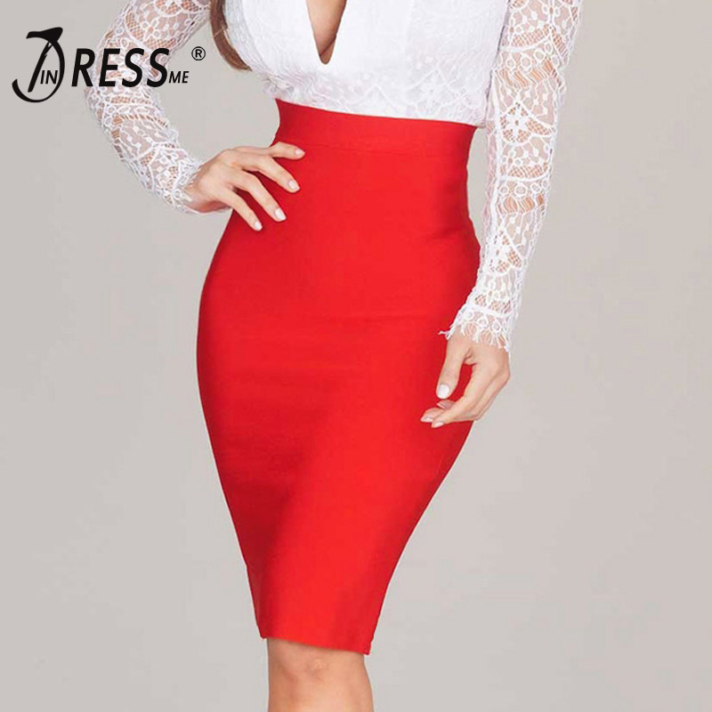 INDRESSME 2020 New Women Bandage Knee Length Skirt Solid Bodycon Skirt Casual Office Lady Business Wear