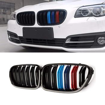 For BMW Sedan F10 F11 F18 M5 M Gloss Black Front Kidney Twin FIns Grille 5 Series 520i 535i 550i 2010-2016 Come with M5 Emblem image