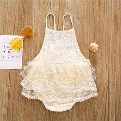 Милые Ползунки с лямкой на шее для новорожденных девочек 0-24 месяцев, кружевные Ползунки с оборками без рукавов, цельные комбинезоны, праздн...
