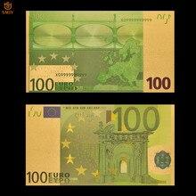 Billetes de oro de Euro coloridos, billetes de papel de 100, dinero, dinero de recuerdo