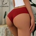 CINOON Короткие трусы, трусики для Для женщин бесшовные трусики Комплект 4 цвета сексуальное нижнее белье трусы с низкой талией Для женщин трус...