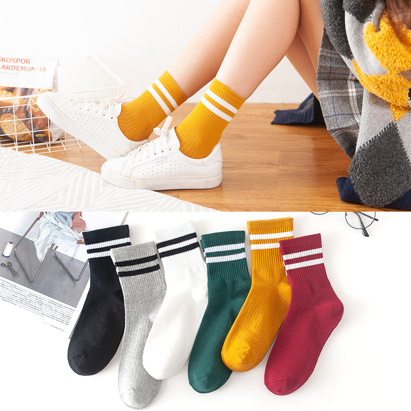 Women's Classic Harajuku Stripe Cotton Tube Skateboard Sports Casual Two Bars Art Fashion Student Solid Autumn&winter Long Socks