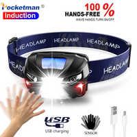 7000Lm linterna frontal recargable LED cuerpo Sensor de movimiento cabeza linterna de acampada lámpara con USB