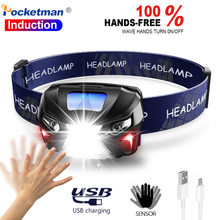 7000lm powerfull farol recarregável led farol corpo sensor de movimento cabeça lanterna acampamento tocha lâmpada luz com usb